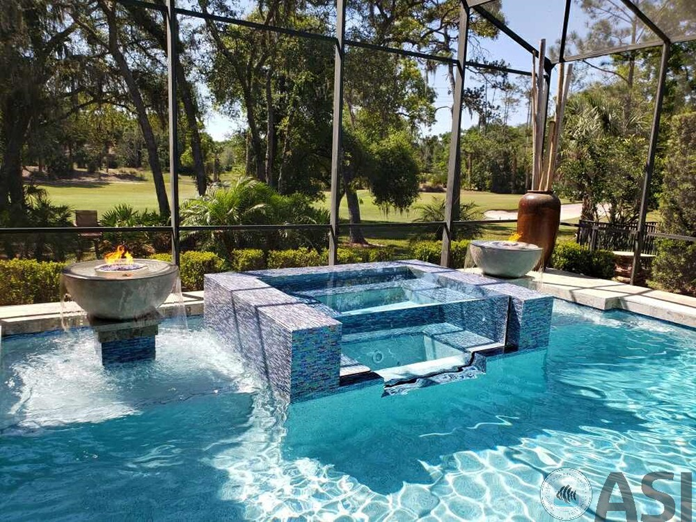 swimming pool on an enclosed patio