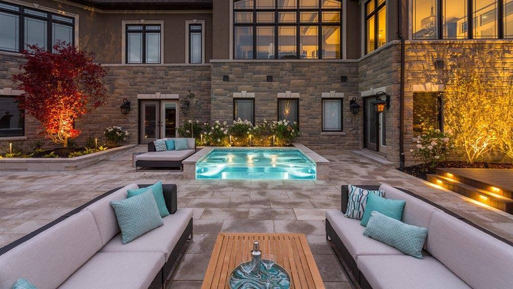 small pool on outdoor patio